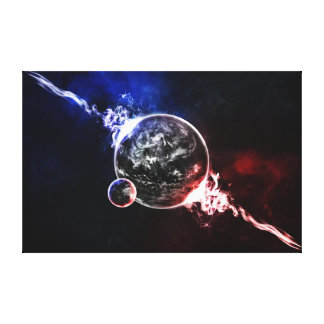 Space planets colorful artistic illustration gallery wrap canvas