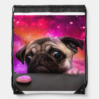 space pug - pug food - pug cookie drawstring bag