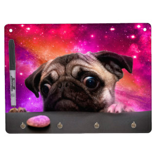 space pug - pug food - pug cookie dry erase board with key ring holder