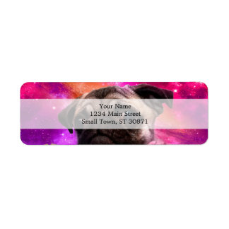 space pug - pug food - pug cookie return address label
