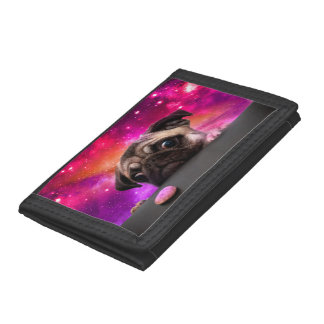 space pug - pug food - pug cookie trifold wallets