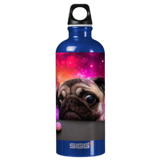 space pug - pug food - pug cookie water bottle