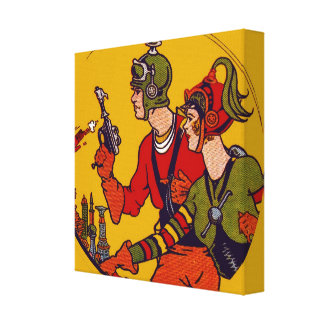 Space Ray Gun Toy Vintage Comic Book Character Art Stretched Canvas Print