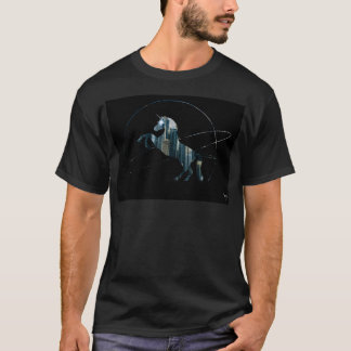 Space Ring Unicorn City (with glowing eyes) T-Shirt