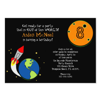 "space rocket BIRTHDAY PARTY invitation 5"" X 7"" Invitation Card"