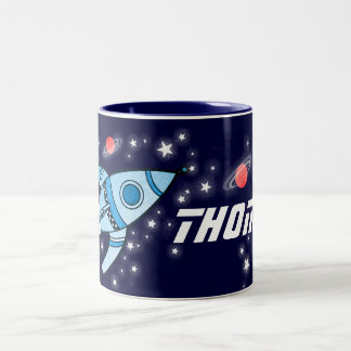 Space rocket blue red kids name mug