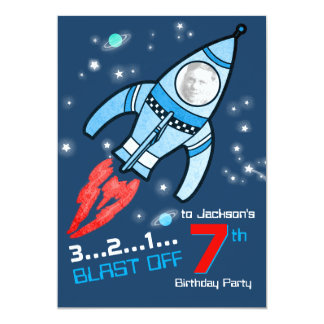 "space rocket kids 7th birthday blue red invitation 5"" x 7"" invitation card"