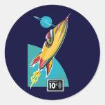 Space Rocket Ride Round Stickers