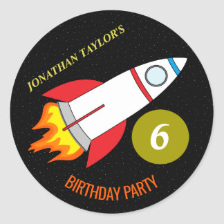 Space Rocket to the Moon Children's Birthday Classic Round Sticker