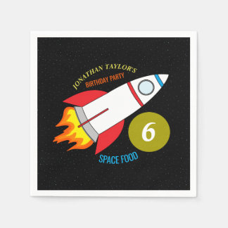 Space Rocket to the Moon Children's Birthday Disposable Serviette