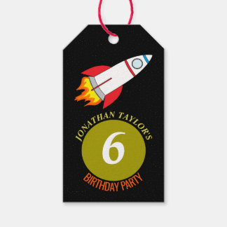 Space Rocket to the Moon Children's Birthday Gift Tags