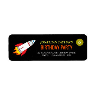 Space Rocket to the Moon Children's Birthday Return Address Label