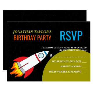 Space Rocket to the Moon Children's Birthday RSVP Card