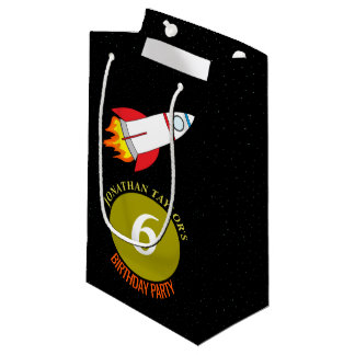 Space Rocket to the Moon Children's Birthday Small Gift Bag