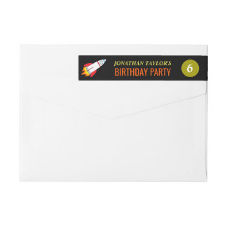 Space Rocket to the Moon Children's Birthday Wrap Around Label