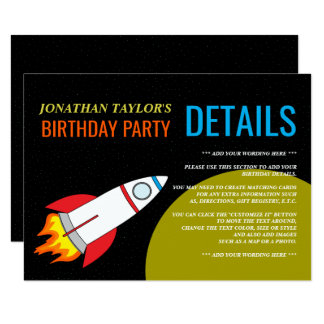 Space Rocket to the Moon Kid's Birthday Detail Card