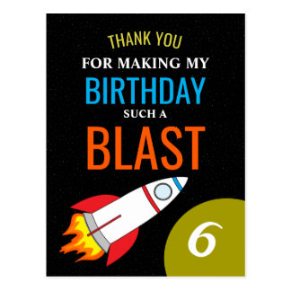 Space Rocket to the Moon Kid's Birthday Thank You Postcard