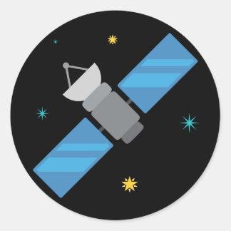 Space Satellite Emoji Round Sticker