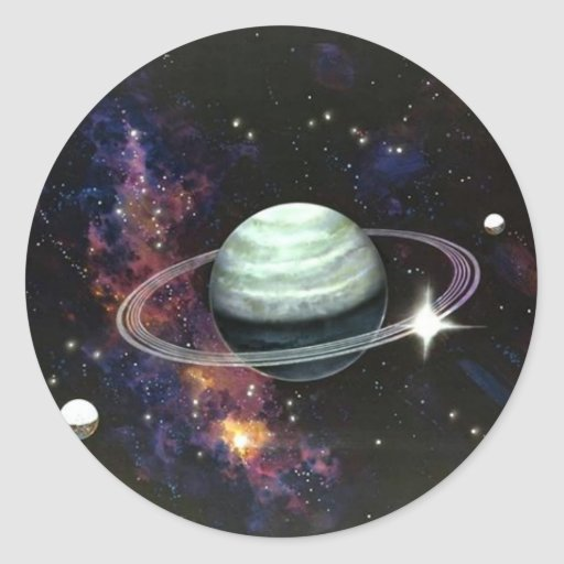 Space, Saturn Rings & Moons Stickers