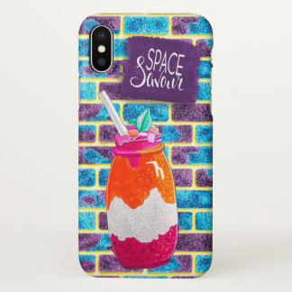 Space savour Fruit Drink and Unique cosmos bricks iPhone X Case