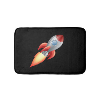 Space ship flying into space bath mats