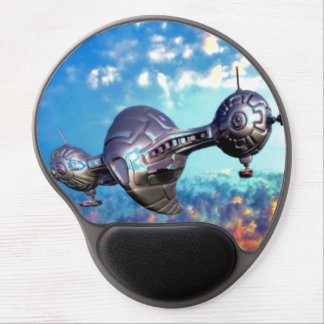 Space ship in colorfull sky gel mouse pad