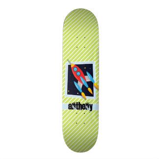 Space Ship; Lime Green & White Stripes 21.6 Cm Skateboard Deck