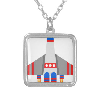 Space Ship Silver Plated Necklace