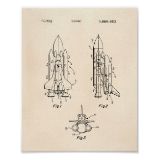 Space Shuttle 1975 Patent Art - Old Peper Poster