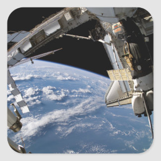 Space Shuttle Atlantis and a Soyuz spacecraft Square Sticker