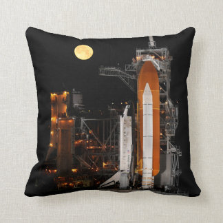 Space Shuttle Discovery and Moon Throw Pillow