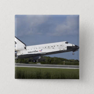 Space shuttle Discovery lands on Runway 33 3 15 Cm Square Badge