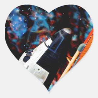 Space Shuttle Heart Sticker