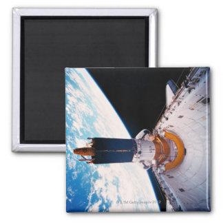 Space Shuttle in Orbit 2 Square Magnet