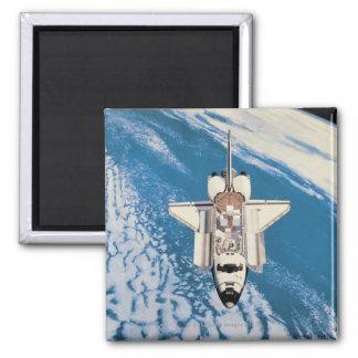 Space Shuttle in Orbit Square Magnet