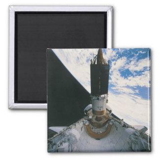 Space Shuttle Releasing Satellite Square Magnet