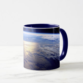 Space Shuttle Robot Arm Earth Orbit Sunburst Mug