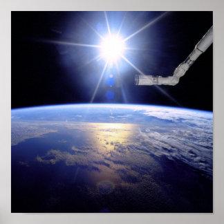 Space Shuttle Robot Arm Earth Orbit Sunburst Poster