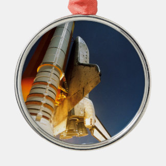 Space Shuttle take off Silver-Colored Round Decoration