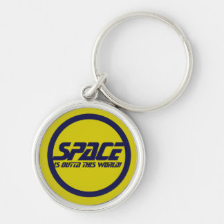 Space Silver-Colored Round Key Ring