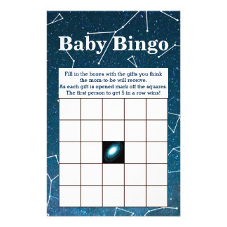 Space Star Constellations Baby Shower Bingo Flyer