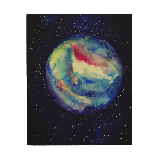 Space Stars Planet Wood Wall Art