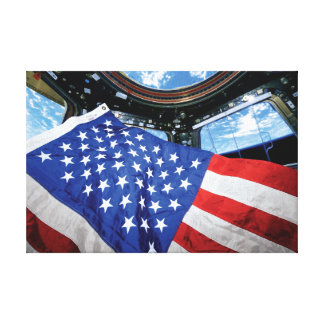 Space Station American Flag with Earth Gallery Wrap Canvas