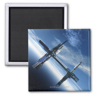 Space station. Computer artwork of a space Square Magnet