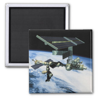 Space Station in Orbit 10 Square Magnet