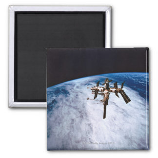 Space Station in Orbit 11 Square Magnet