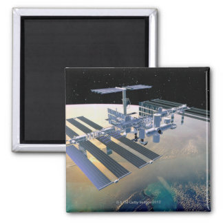 Space Station in Orbit 4 Square Magnet