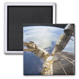 Space Station in Orbit 8 Square Magnet