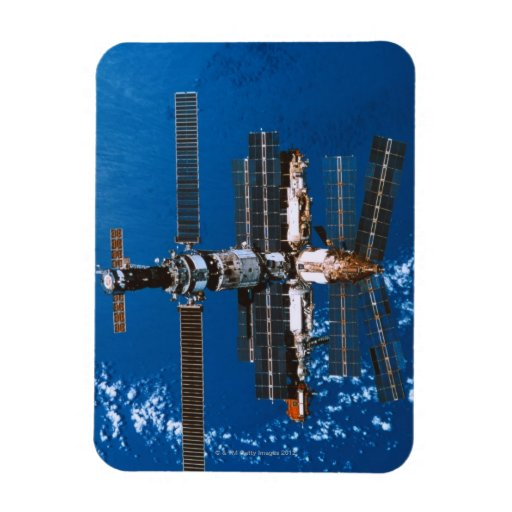 Space Station Orbiting in Space Magnet