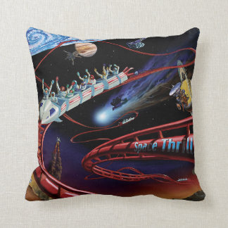 Space Thrills Roller Coaster Throw Pillow